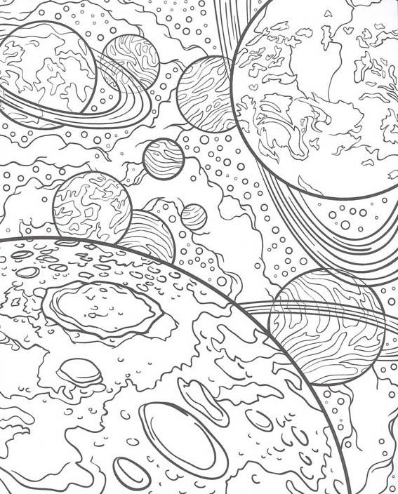 Раскраска космос для взрослых