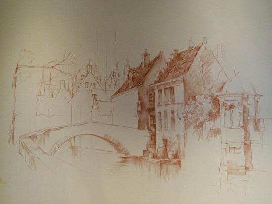 Роспись на стенах карандашом