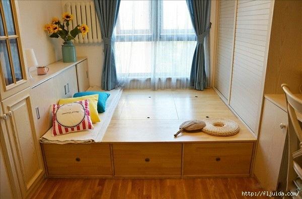 Интерьер кровать на балконе.