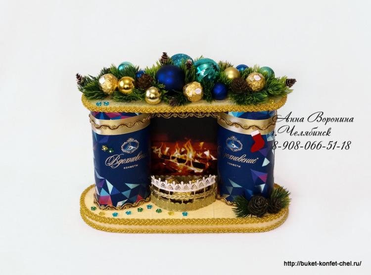 новогодишна композиция с бонбони - камина