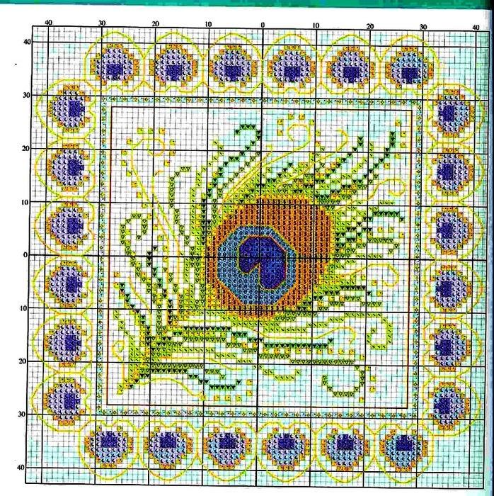 Вышивка крестом перо павлина схемы 80