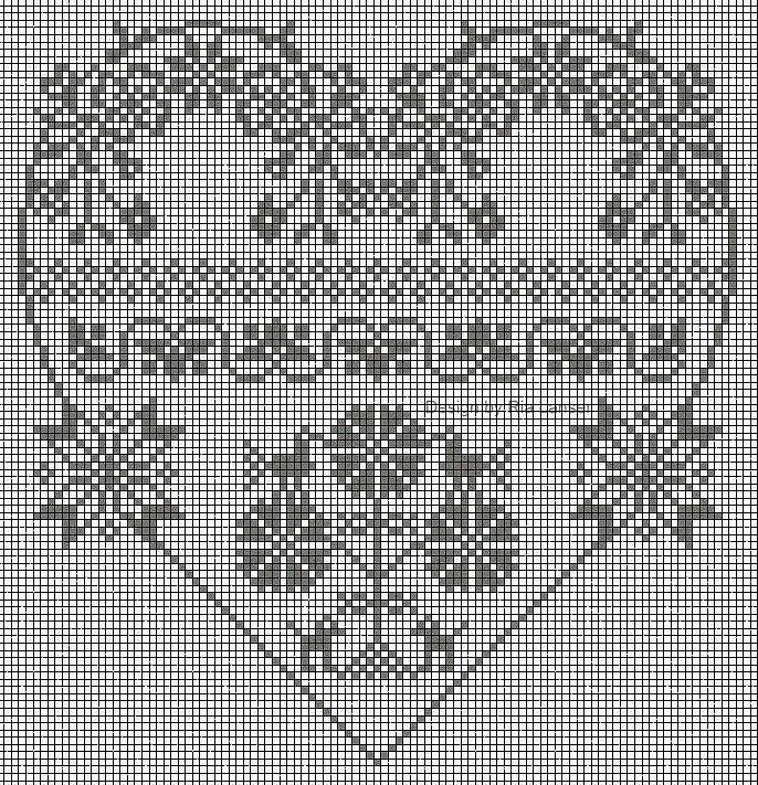 Черно-белое сердце схема вышивки