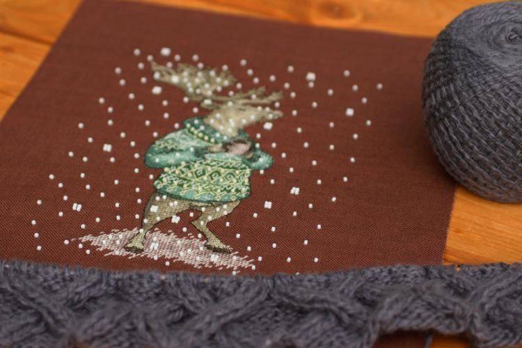 Вышивка животные в свитерах с кружкой 91