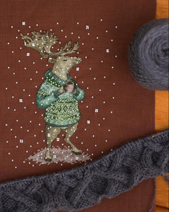 Вышивка животные в свитерах с кружкой 32