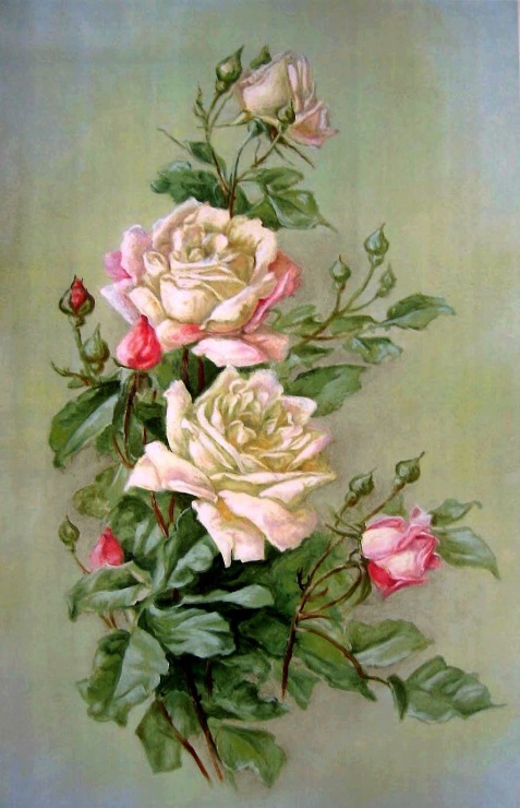 Принт для вышивки лентами розы 500