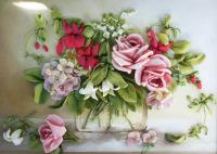 Принт для вышивки лентами розы 245