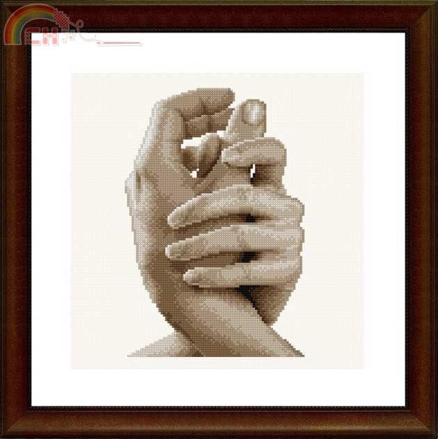 Вышивка крестиком рука в руке