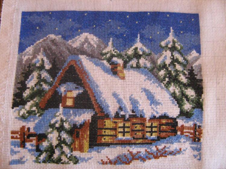 Схема вышивки домик зимой