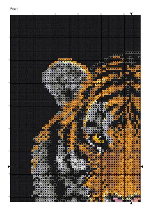 Схема вышивки крестом Тигр на черном 5