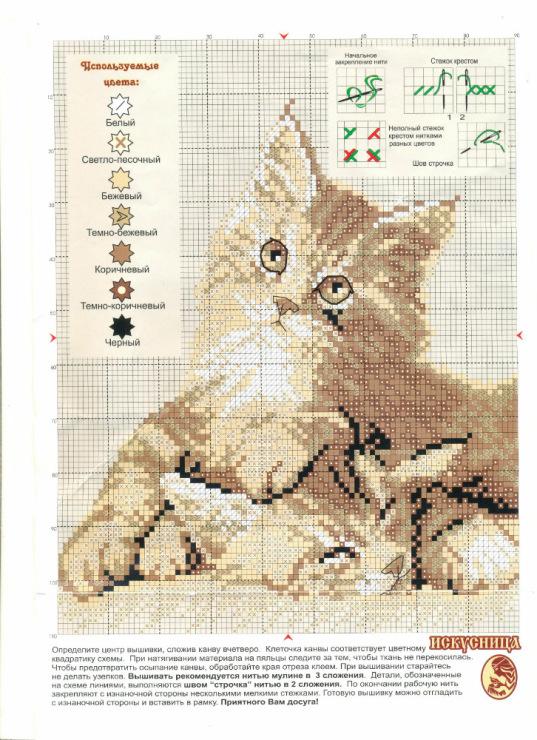 Скачать схемы для вышивки крестом с котами