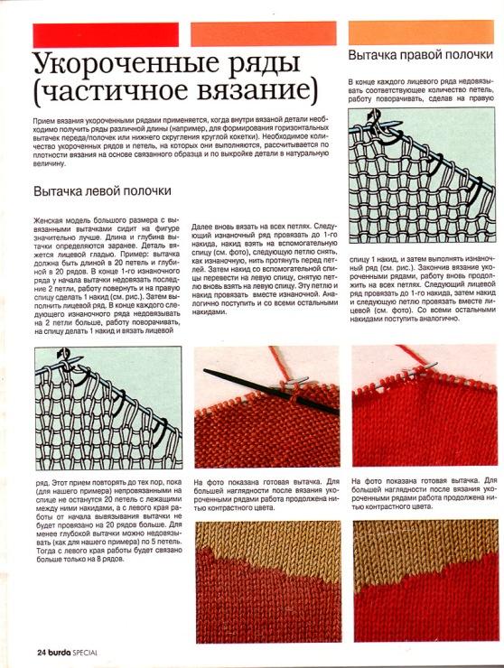 Вязание полотна укороченными рядами