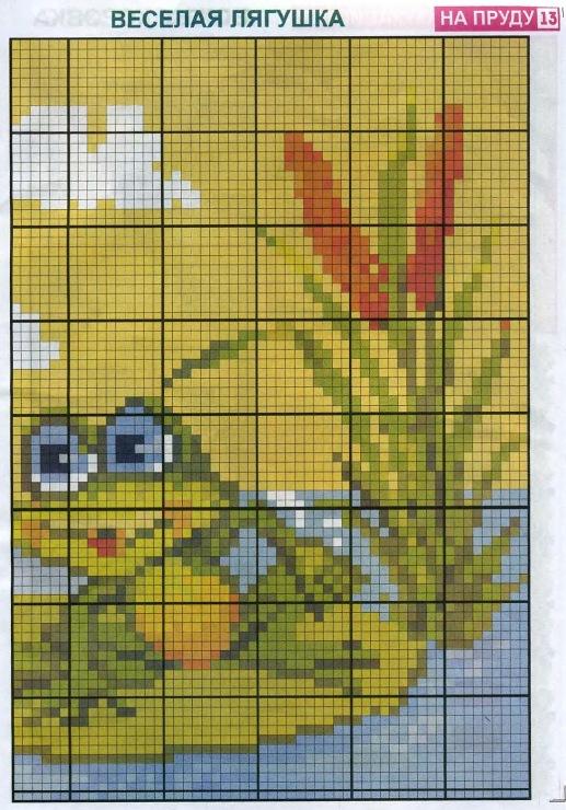 Схема вышивки лягушек 82
