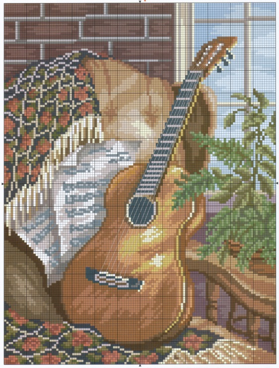 Вышивка гитара картинки