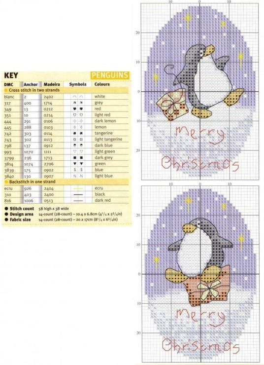 схема вышивки пингвин скачать бесплатно