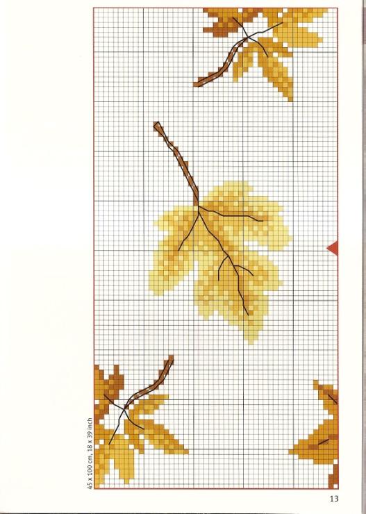 Вышивка осенний лист схема 56