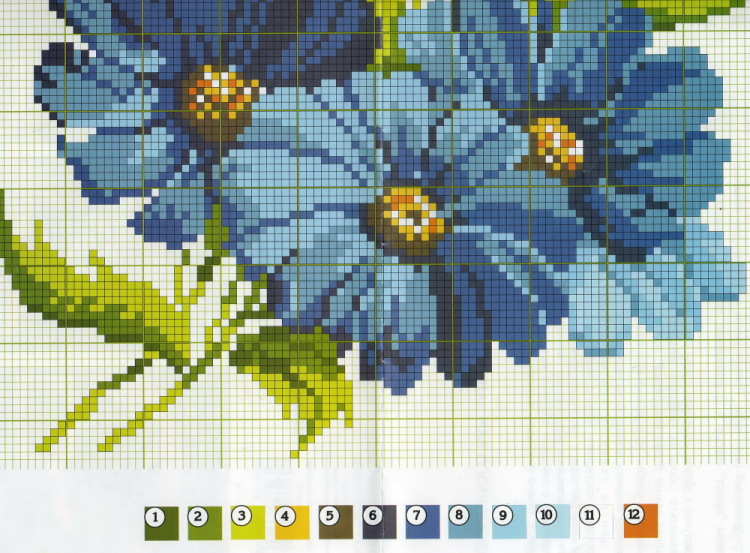 Вышивка крестом цветы синие 34
