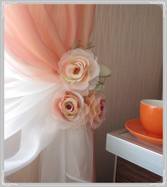 Как изготовить цветы из ткани своими руками для штор 31