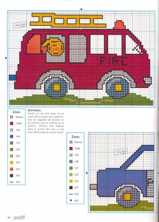 Схема вышивки пожарная машина фото 759